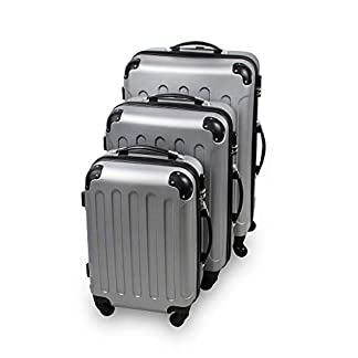 Todeco – Juego de Maletas, Equipajes de Viaje – Material: Plástico ABS – Tipo de ruedas: 4 ruedas de rotación de 360 ° – Esquinas protegidas, 51 61 71 cm, Plateado, ABS