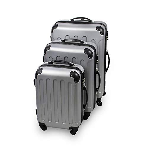Todeco - Set de Valises, Bagages pour Voyage - Matériau: Plastique ABS - Roues: 4 Roues à Rotation 360° - 51 61 71 cm, Argent, Coins protégés, ABS