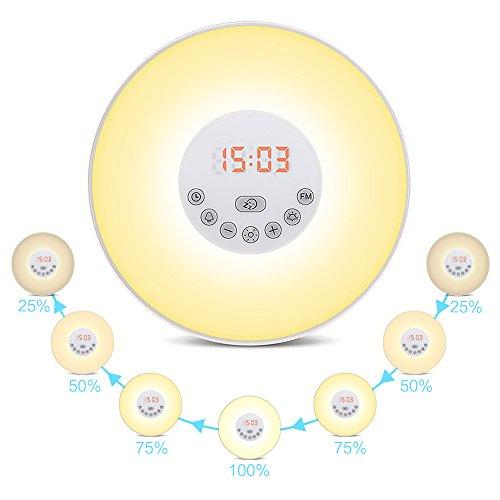 Wecker Wake Up Light Lichtwecker Wecker mit Licht ,7 Wecktöne (inkl. 2 Naturklänge und FM), 7Farben, 10 Dimmstufen, Sonnenaufgangssimulator, Nachtlicht mit FM Radio,Wecker für Kinder oder Erwachsene(Neue Version)