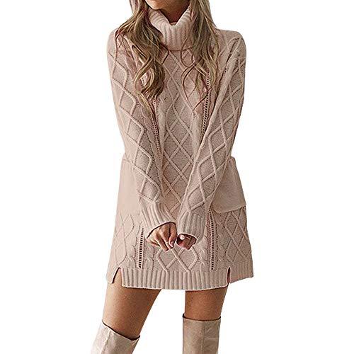 BHYDRY Frauen Winter Pullover Stricken Rollkragen Warme Lange Ärmel Tasche Sexy Minikleid(Medium,Khaki)