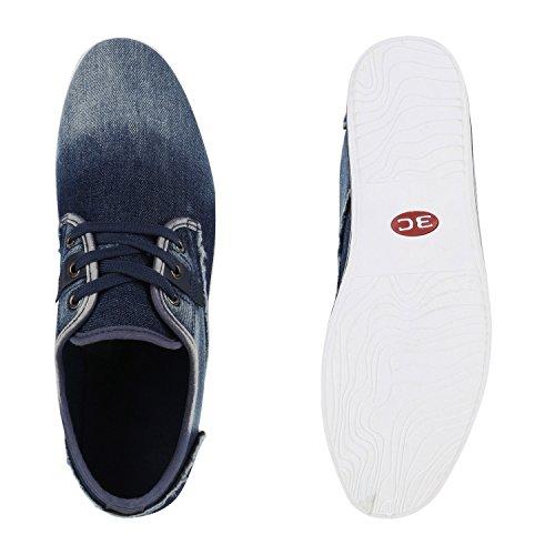 Herren Sneakers Denim Jeans Schnürer Sportschuhe Fransen Used Dunkelblau