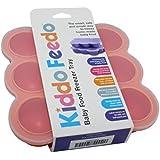 KIDDO FEEDO Recipiente para comida de bebé – Envase de silicona para congelar alimentos y papillas – 6 colores – Aprovado por la BPA y la FDA – eBook gratis del autor/dietista, garantía de por vida