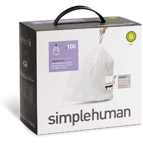 Simplehuman Sacchetti (100), Code G, 30litri, cw0237 - Coperchio Di Plastica Rettangolare Passo