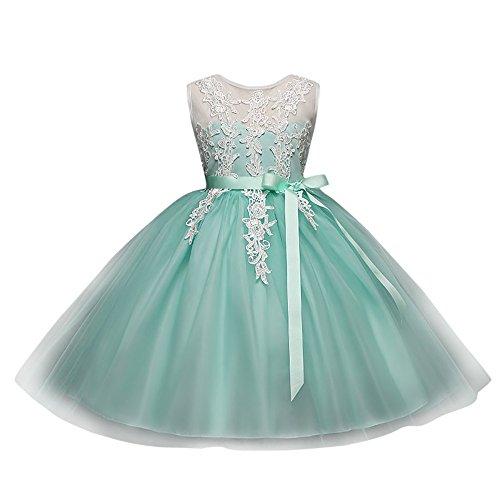 Koly bambini ricamo delle bambine principessa senza schienale stampa floreale abito tutu abito ragazza cerimonia bowknot vestito da sposa damigella d'onore abito