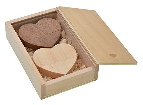 FEBNISCTE Ein Paar 16GB USB2.0 Flash Drive Herz-Art Mit Kleinholzkasten Für Liebhaber -