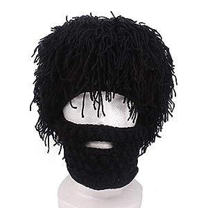 DHDHWL,Sturmhaube Winter-Männer Handgemachte Perücke Bart Hut Häkeln Schnurrbart Knit Party Hut Gesicht Quaste Fahrrad Maske warmen Hut