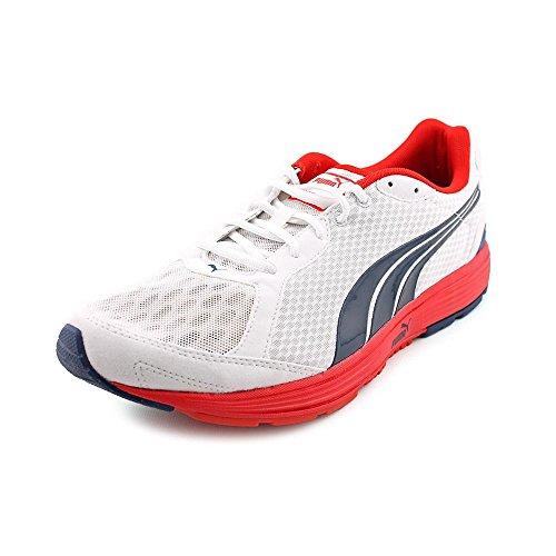 Puma Descendant Synthétique Chaussure de Course White-Poseidon-Red