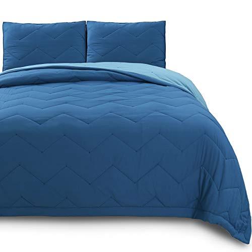 KASENTEX Luxuriöses Wende-Steppbett mit modernem horizontalem Zickzack-Design, Mikrofaser weiche Bettwäsche mit Kammschutz Modern Queen + 2 Shams (90x90+20x26 x2) blau