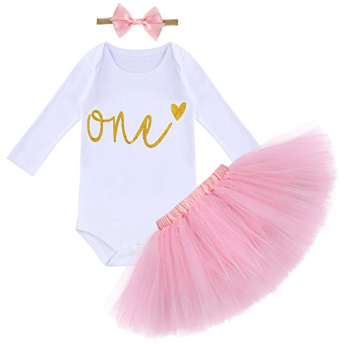 FYMNSI Baby Mädchen Es ist Mein 1. Geburtstag Outfit Kleinkinder erstes Geburtstagskleid Pinzessin Tütü Tüll Rock Langarm Strampler Body Pailletten Stirnband 3tlg Bekleidungsset Fotoshooting Kostüm (Kleinkind-mädchen-geburtstags-outfits)