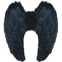 Yummy Bee Alas de Plumas Verdad Angel Diablo Despedidas de Soltera Halloween Fiestas de Disfraces Adulto Grandes 60 x 40 cm Lujo(Negro)