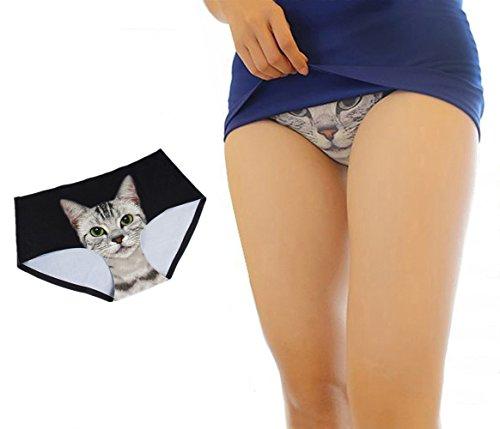 Olanstar Damen 3D Sexy Pussycat Nahtlos Slips Anti-Exposition Unterwäsche Hipster Unterhose Schwarz