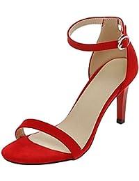 COOLCEPT Mujer Moda Strappy Zapatos Punta Abierta Al Tobillo Tacon De Aguja Sandalias