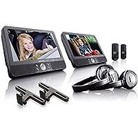 "Lenco DVP-940 - Dos reprodcutores DVD 9"", USB, SD, 2 Auriculares, Negro"