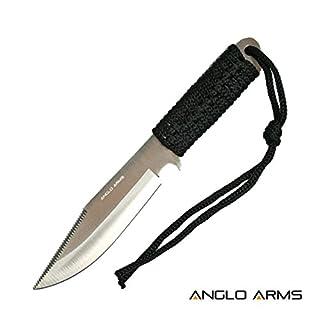 Fahrtenmesser Outdoormesser Schwarz geschnürtes Messer mit Nylonhülle und Gürtelhalter.