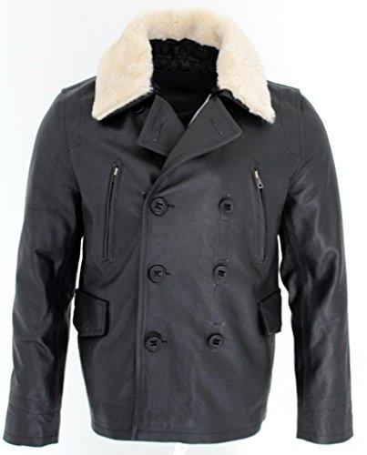Männer schwarze Bikerjacke aus Leder mit abnehmbarem Schaffellkragen S