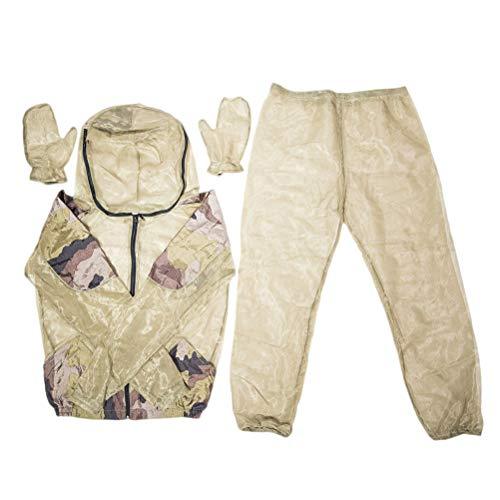 Kostüm Mann Moskito - LIOOBO 1 Satz 3 stücke Moskito Proof Anzug Bug Jacke Hose Handschuh Set Anti Insekt Atmungsaktives Mesh Net Anzug für Männer Frauen Angeln Jagd Biene Fütterung (L XL)