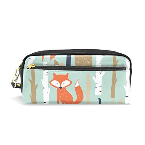n Wald Baum Tier Fuchs Blume Leder Federtasche Reißverschluss Stiftehalter Student Schreibwaren Kosmetik Make-up Tasche ()