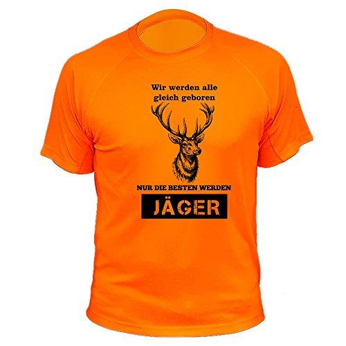 Jäger T Shirt, Hirsche, Vir Werden alle gleich geboren, Jagd Geschenke (20149, Orange, XL)