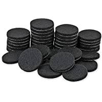 Tenn Well Furniture Pads, 50pcs Round Thick Self-adhesive Fiber Felting Heavy Duty Felt Pads for Furniture and Floor (Black)