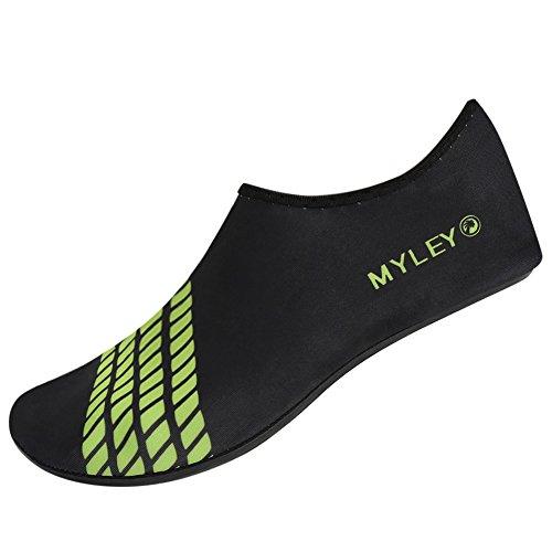 MORESAVE Uomo Donna scarpe di pelle di acqua scarpe calze d'acqua in piscina esercizio spiaggia nuotare slittamento su Surf verde