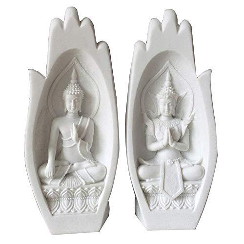 Deux Statues De Bouddha Différentes Sont Gravées Dans La Paume De La Main, Décoration De Salon Bouddha, Sculpture De Décoration Intérieure, Ornement En Résine De Grès (8,5 X 6 X 21 Cm),Whitesandstone
