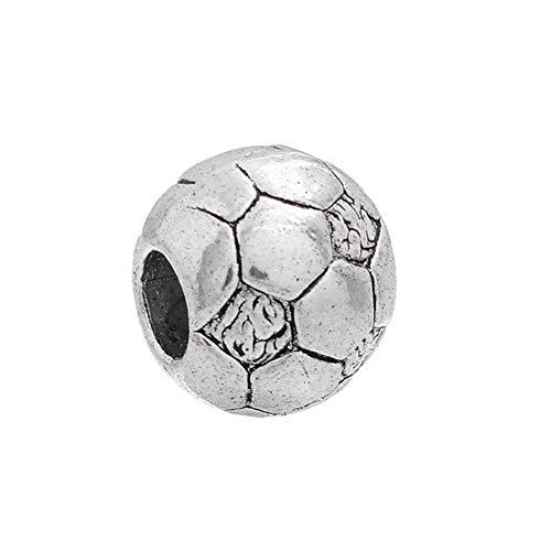 Housweety 15 Stück Europäische Legierung Silberfarben Antik Fußball Perlen für Armbänder zum Basteln Bastelperlen Set 4.6mm
