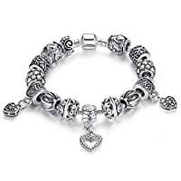 Silver plated bracelet glass Beads Pandora Style Charm Bracelets for women
