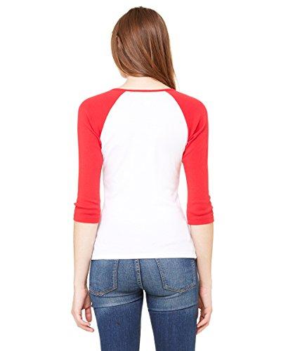 Bella Ladies'11 3/4 Rib Sleeve Raglan T-Shirt 2000 White/Red