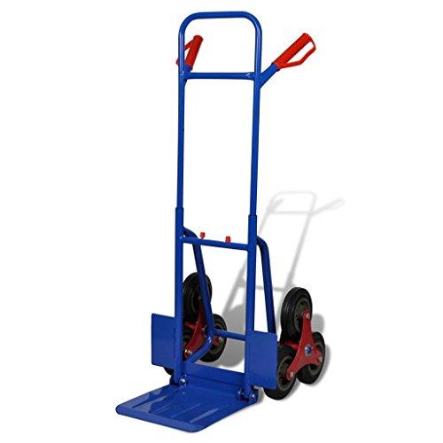Vislone Carrello Portapacchi/Portacasse per Scale Pieghevole a 3 Ruote in Acciaio Rosso e Blu Capacità 150 Kg