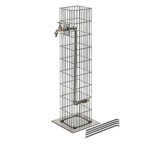 bellissa Wasserzapfsäule aus Metall - 95635 - Hochwertige Gabionen Wasserzapfstelle - Dekorative Garten-Wassersäule - 16 x 16 x 90 cm