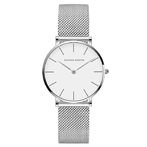 L'ananas-Uhren, Damen Rostfreier Stahl Mesh-Armband Quarz Einstellbar Band Business-Mode-Uhren mit Geschenketui (Z-Silber+Weiß)