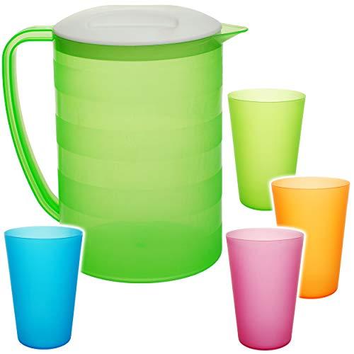5 TLG. Set: 2 Liter - große Kanne / Krug / Getränkespender mit Deckel + je 4 Trinkbecher - NEON grün - bunt - Karaffe Wasserbecher - Wasserkrug / Getränkekrug.. ()