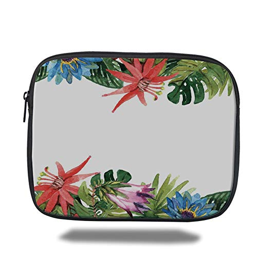Laptop Sleeve Case,Leaf,Exotic Flowers Bamboo Climbing Dayflower Littlebell Coral Creeper Print,Green Red Purple and Blue,Tablet Bag for Ipad air 2/3/4/mini 9.7 inch -