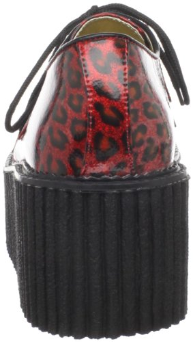 Demonia Creeper, Scarpe basse donna Red Cheetah Gltr Pat