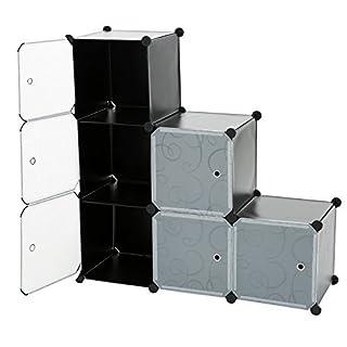 C&AHOME - 6 Cube DIY Closet Organizer Media Storage Cabinet Toy Rack Bookcase Shelf with Doors and Magnetic Locks, Black