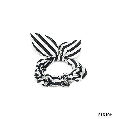 Kleiner, gestreifter Haargummi mit gefütterter Schleife (schwarz/weiß) 021-00041