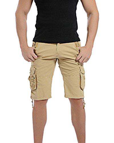 Uomo Pantaloncini Corti Bermuda Cargo Short con Tasconi Laterali Cachi