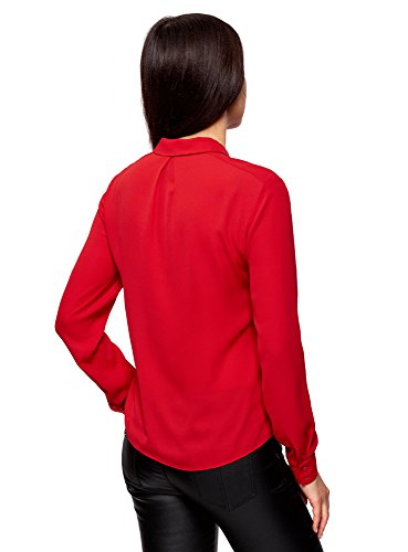 oodji Collection Damen Bluse Aus Fließendem Stoff mit Volants Rot (4500N)