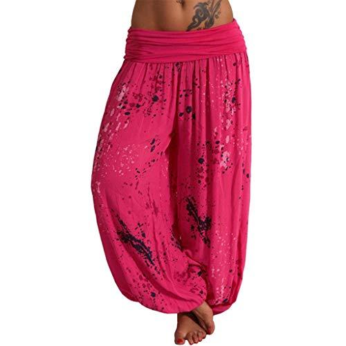 SHUBIHU Damen Yogahose Pilates Bedruckte Bandbreite Lose Hosen Für Fitness Casual Hosen Jogginghose Neu 2019 (Pink, L) (Antike Perle Ring)