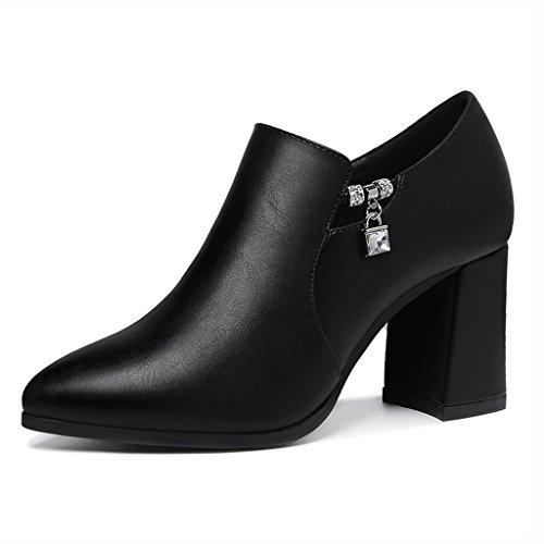 Chaussures femme HWF Les Chaussures en Cuir Femelles Simples à Talons Hauts pointés British Style Printemps