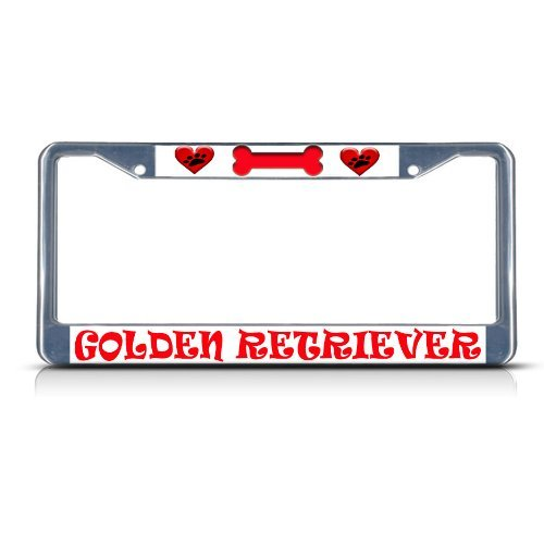 Saniwa Nummernschild Abdeckungen I Love My Golden Retriever Dog chrom Heavy Metal Nummernschild Rahmen Tag Bordüre (State Flag Dog Tag)
