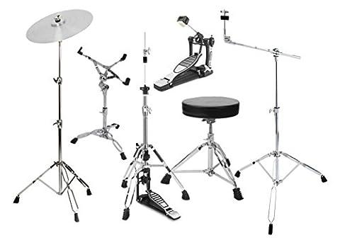 XDrum HP-SSP5S Hardware Pack (6-teilig, Galgenbeckenständer, gerader Beckenständer, Snareständer, Single Fußmaschine, HiHat-Maschine & (Cymbal Stand Pack)