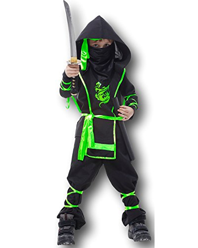 kinder Kampfsport Ninja Maskenkostüm Cobra Dragon Ninja Kämpfer Ages 4-12 - Gold, 4-6 - Gold Dragon Ninja Kostüm