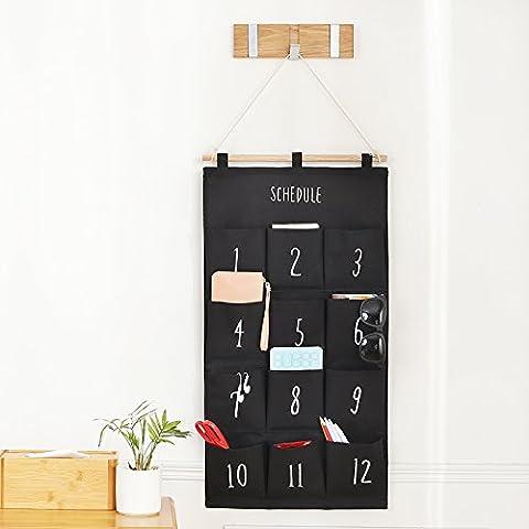 5exy-Cotton Fabric Wall Door Closet Hanging Storage Bag Organizational ,73*38cm,black