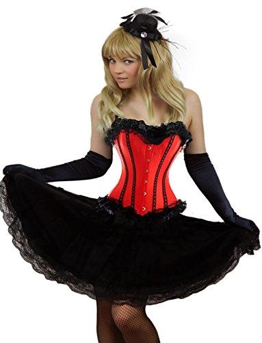 Yummy Bee - Burleske Verstärktes Korsett mit Spitzen Rock Karneval Fasching Kostüm Damen Größe 34 - 56( 38-40, Rot)