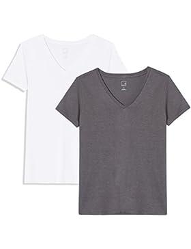 MERAKI Camiseta Mujer Cuello de Pico, Pack de 2
