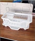 RKPM 3 IN 1 Kitchen Sink Dish Drainer Drying Rack Washing Holder Basket Organizer Tray Font Side 45 x 24 x 18 CM(White)