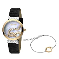 Just Cavalli Women's Mother of Pearl Dial Leather Analog Watch Bracelet Set - JC1L091L0025