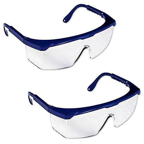 2 x Gafas de Seguridad - Policarbonato Incolora Protectoras [ PACK ] - Ligera y Regulable en Extensión - Color: Translúcido / Azul Marino - Usos: Bricolaje, Industrial, Jardineros, Laboratorios, Limpieza, Logística, Madereras y Mantenimiento
