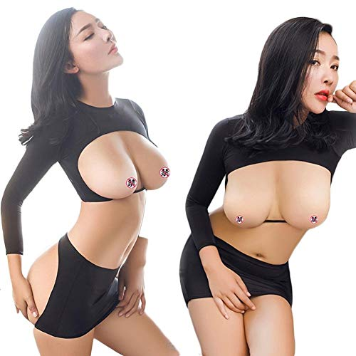 XWZG Frauen Sexy Dessous Slim Fit Overall Babydoll Langarm Open Dessous Schwarz (Es Halloween Ist Abend Heute)